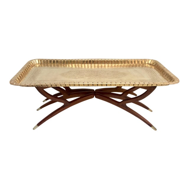 Mid-Century Moroccan Style Etched Brass & Mahogany Spider Table For Sale