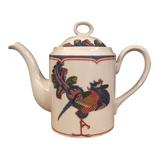 Vintage Georges Briard Authentic Reproduction Oriental Peacock Teapot For Sale