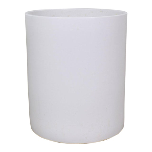 Vintage Mid Century Modern Architectural PotteryWhite Cylindrical Pot For Sale