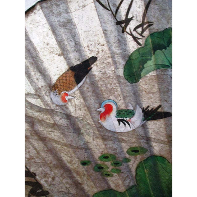 1980s Japanese Hand-Painted Paper & Wood Wall Fan For Sale In West Palm - Image 6 of 13