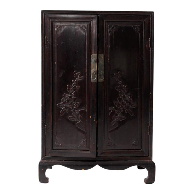 Antique Lacquered Asian Cabinet For Sale
