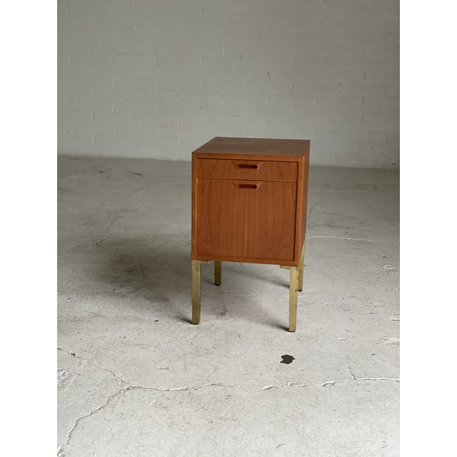 Mid Century Walnut and Brass Filing Cabinet For Sale In Phoenix - Image 6 of 6