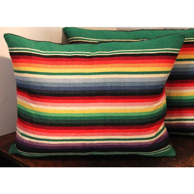 Pair of Mexican American Serape Indian Weaving Pillows For Sale - Image 4 of 4