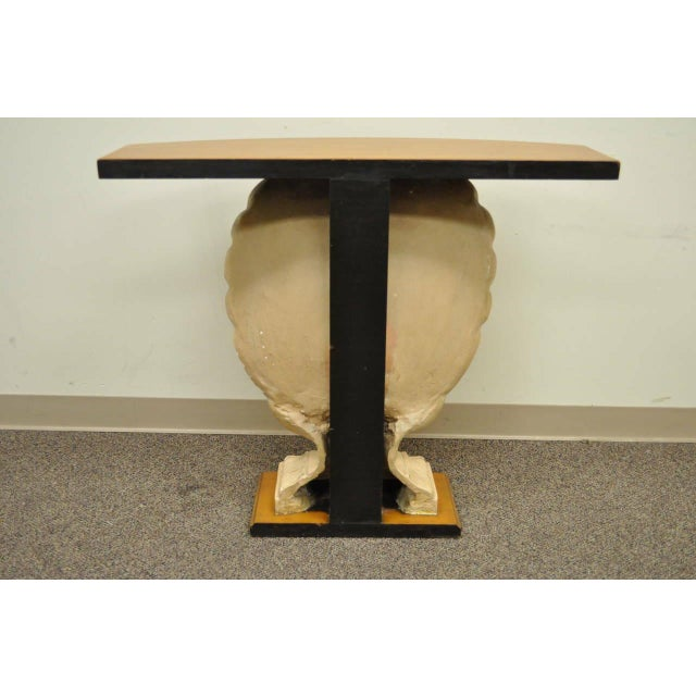 1940s Hollywood Regency Plaster Shell Form Console Hall Table For Sale - Image 9 of 11