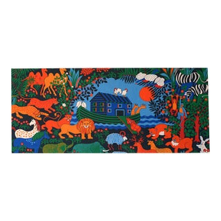 Vintage 1970s Noah's Ark Fabric Wall Hanging
