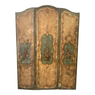 Antique French Hand Painted Tri-Panel Leather Screen For Sale