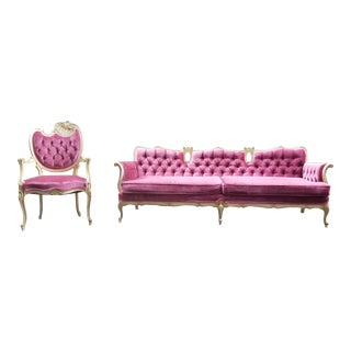 1990s Vintage Hollywood Regency Style Pink Velvet Sofa & Chair - 2 Pieces For Sale