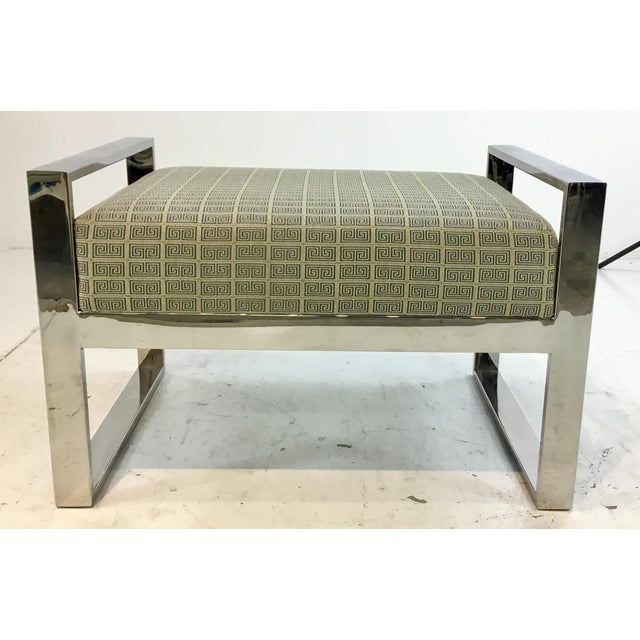 Mid-Century Modern Inspired Vanguard Greek Key and Chrome Chair and Ottoman Set For Sale In Atlanta - Image 6 of 9