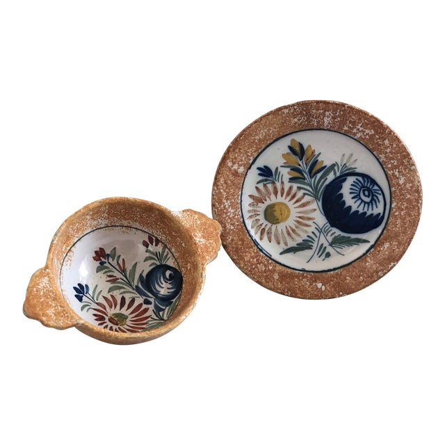Henriot Quimper French Pottery Bowl & Plate Set For Sale