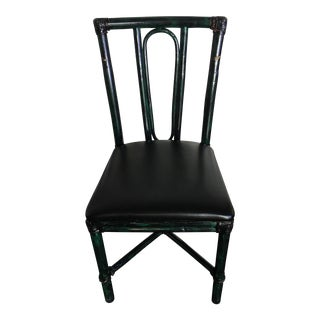 McGuire Black & Green Rattan Chairs