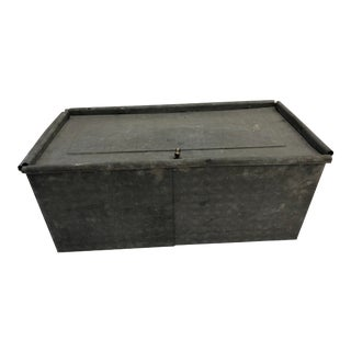 Vintage Country Galvanized Metal Bread Box For Sale