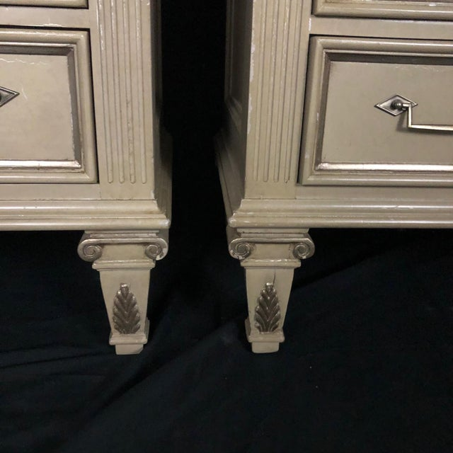 Off-white Louis XVI Style Chests or Night Stands -A Pair For Sale - Image 8 of 13