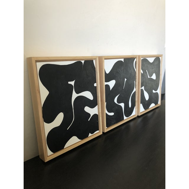 Contemporary Eternity Framed Abstract Triptych in Black and White For Sale - Image 3 of 6