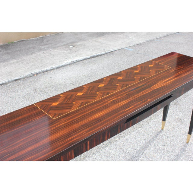 French Art Deco Exotic Macassar Ebony Console Table, Circa 1940s For Sale - Image 4 of 13