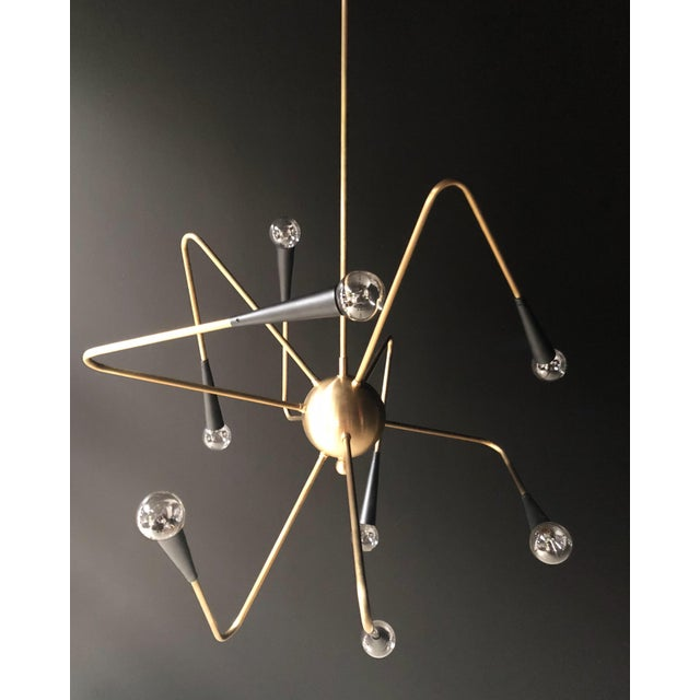 8-Arm Brass Sputnik Chandelier For Sale In Los Angeles - Image 6 of 6