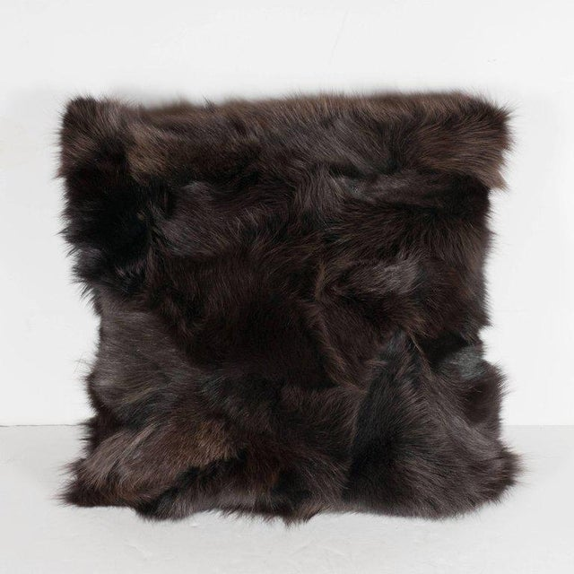 Luxurious Custom New Handmade Fox Fur Pillows in a Stunning Onyx Shade For Sale - Image 4 of 10