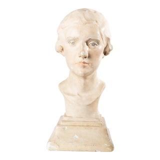 1933 Vintage Plaster Female Bust Sculpture For Sale