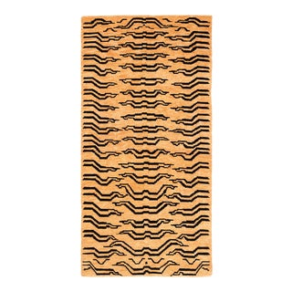 Black and Golden Tan Wool Tibetan Tiger Area Rug For Sale