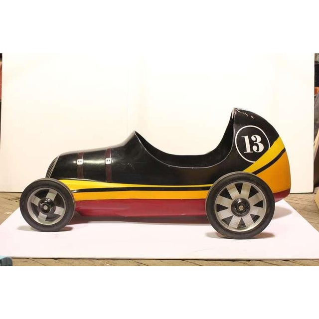 "Carnival 1950's Vintage ""Lucky 13 "" Soap Box Derby Carnival Ride Car For Sale - Image 3 of 4"