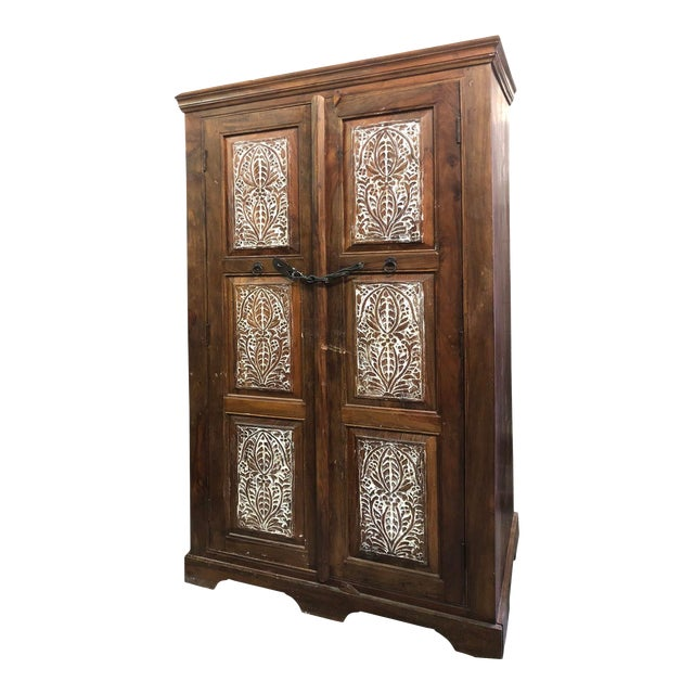 Antique Rustic Handcrafted Floral Carving Cabinet For Sale