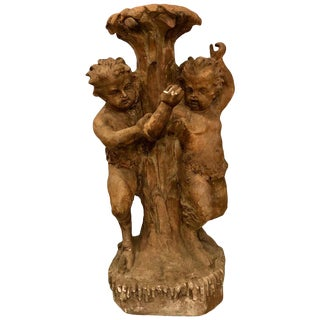 Late 18 or Early 19th Century Terracotta Putti Figural Fountain / Planter Base For Sale
