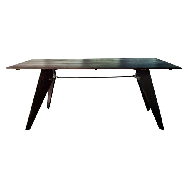 """Mid-Century Handmade Black Dining Utility Table 71"""" For Sale - Image 11 of 12"""