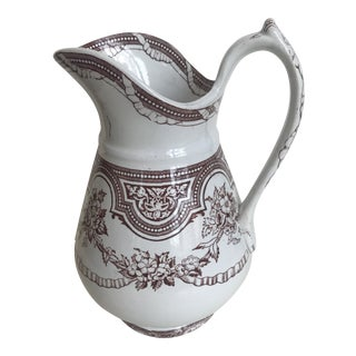 19th Century Floral Ribbon Banded Ironstone Pitcher For Sale