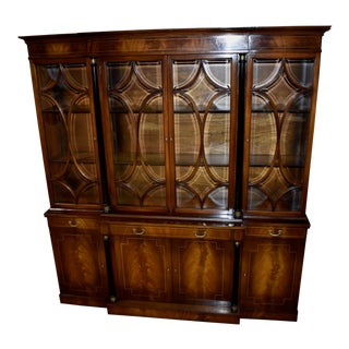 1970s Vintage Mahogany Regency Style China Cabinet For Sale