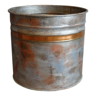 Vintage Metal & Copper Planter For Sale