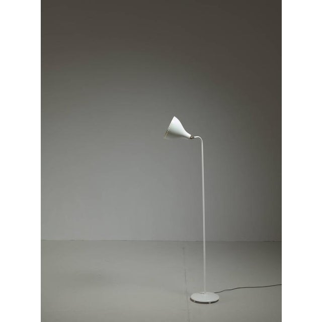 Jac Jacobsen White Metal Floor Lamp, Norway, 1950s - Image 4 of 4