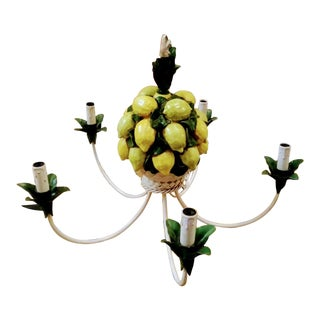 Rare Italian Ceramic Lemon Basket Regency 5 Light Chandelier For Sale