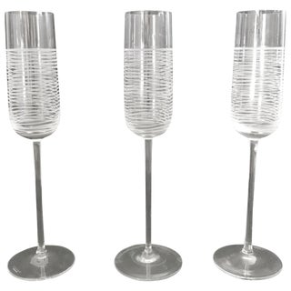 Italian Murano Champagne Glasses by Salviati - Set of 3 Final Clearance Sale For Sale