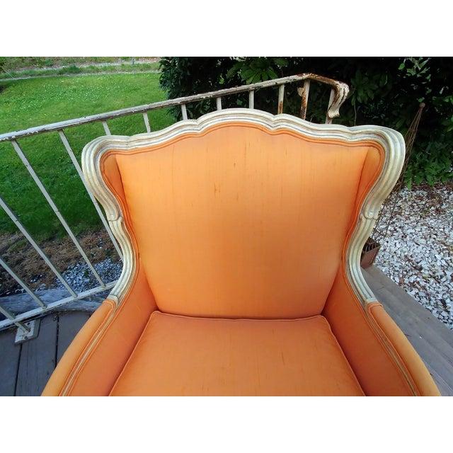Orange Henredon White Frame Orange Upholstery Louis XV Down Fill Bergere Chair For Sale - Image 8 of 13