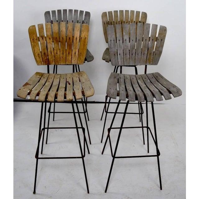 Wood Vintage Umanoff Weathered Wood Stools- Set of 4 For Sale - Image 7 of 11