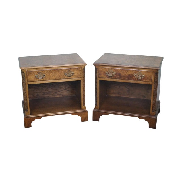 Baker Burl Walnut Chippendale Style Nightstands - A Pair - Image 1 of 10