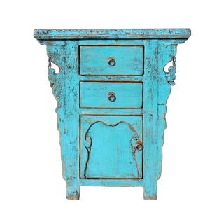 Chinese Rustic Rough Wood Distressed Aqua Blue Side Table Cabinet For Sale