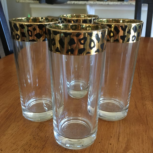 Italian Black & Gold Cheetah Print Glasses - Set of 4 - Image 2 of 10