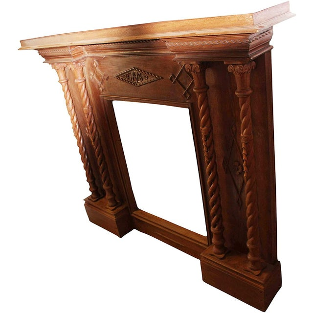 Art Deco Antique Indian Hand-Carved Fireplace Console For Sale - Image 3 of 7
