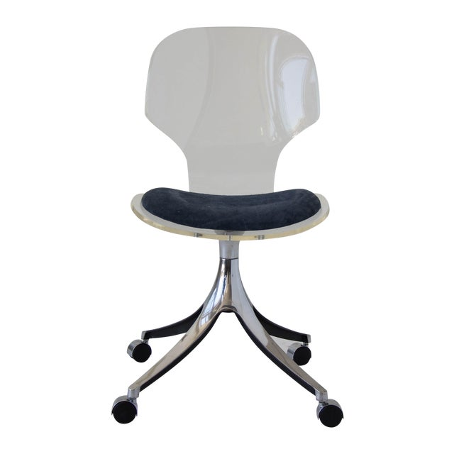 Hill Manufacturing Co. Lucite Rolling Desk Chair - Image 1 of 9
