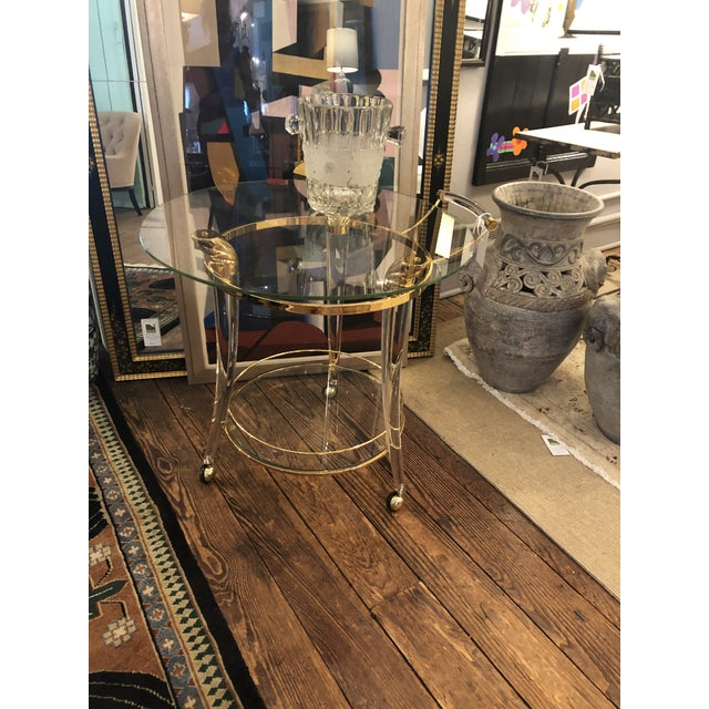 French Lucite and Gold Plated Round Bar Cart For Sale - Image 11 of 12