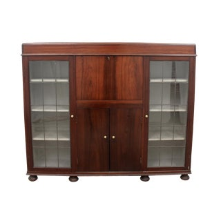 1960s Mid Century Modern Secretary Bookcase With Original Key For Sale