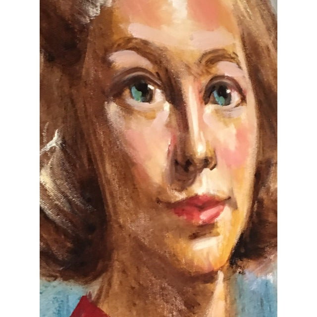1950s Mid Century Modern Female Portrait Painting Vintage For Sale - Image 10 of 11