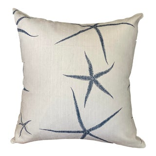 Starfish Premiere Prints White and Blue Pillow Cover For Sale