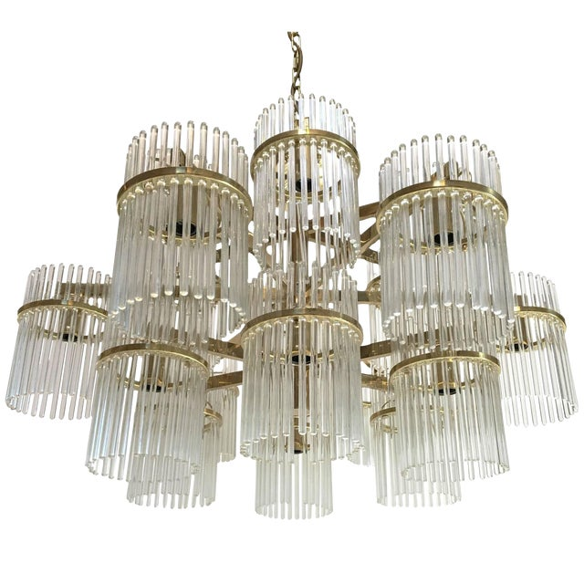 Large 18 Arm Brass and Glass Chandelier by Gaetano Sciolari For Sale