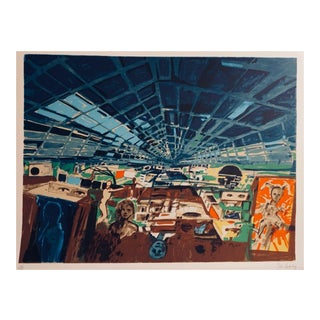 """Late 20th Century """"Greenhouse"""" Space Age Style Interior Scene Serigraph by John Hultberg For Sale"""