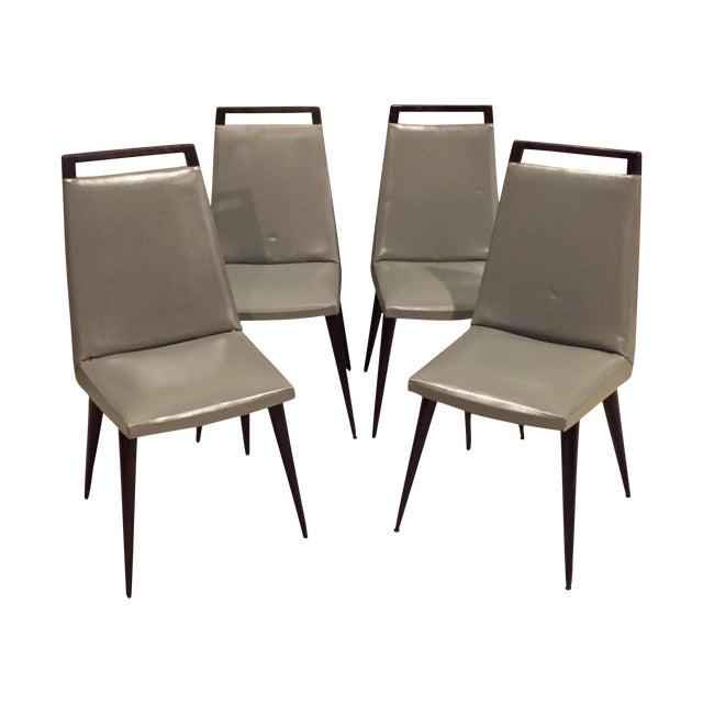 Vintage 1960s Mod Wood & Vinyl Chairs - 4 - Image 1 of 8