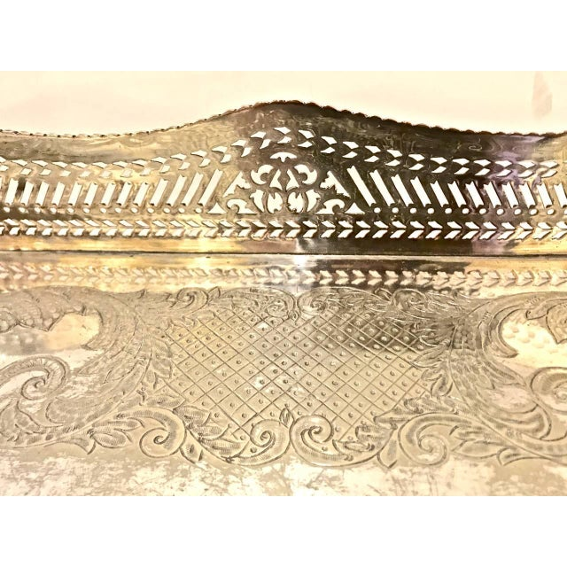 Late 19th Century Sheffield Silver Plate Large Gallery Tray For Sale - Image 5 of 8