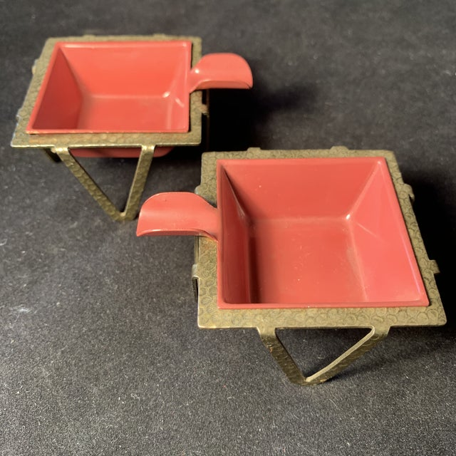 Mid-Century Enamel & Brass Ashtrays - a Pair For Sale In San Diego - Image 6 of 6