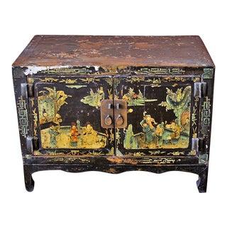 Antique Black Lacquer Cabinet For Sale