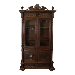 Bookcase Antique French Renaissance Hunting Style For Sale